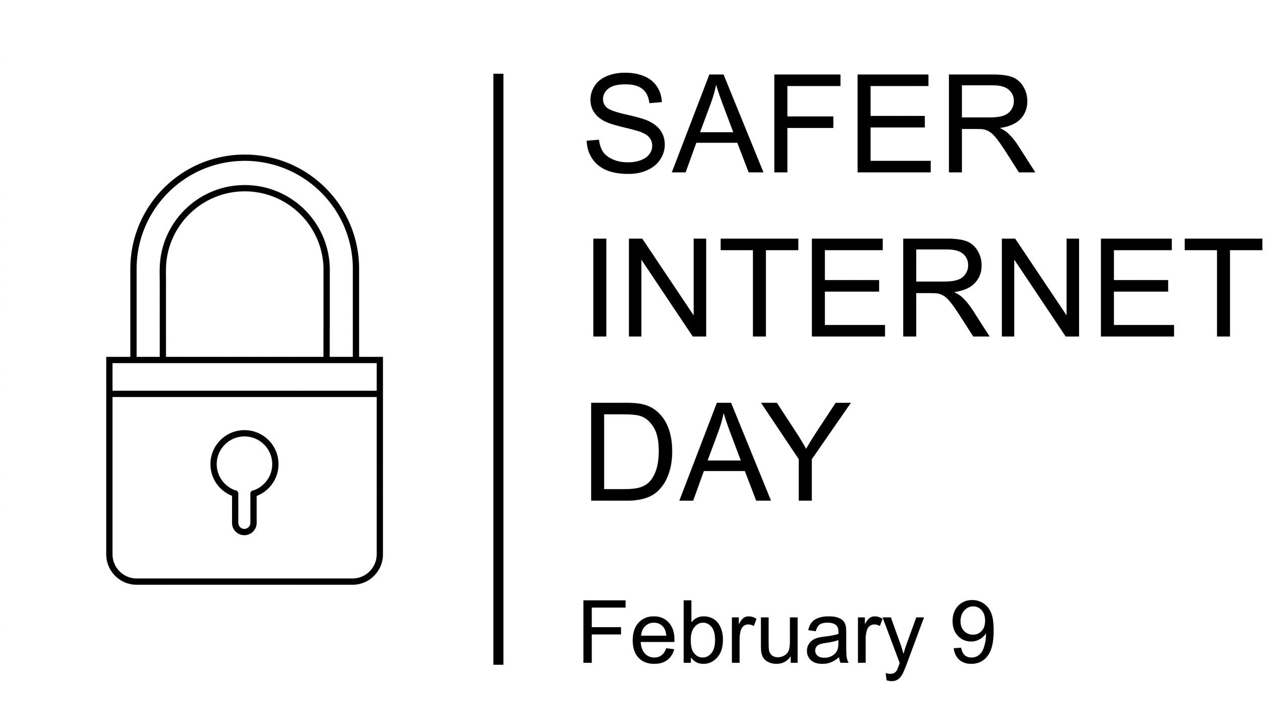 Safer Internet Day symbol, sign or logo. Padlock design. White background. Vector Illustration. February 9