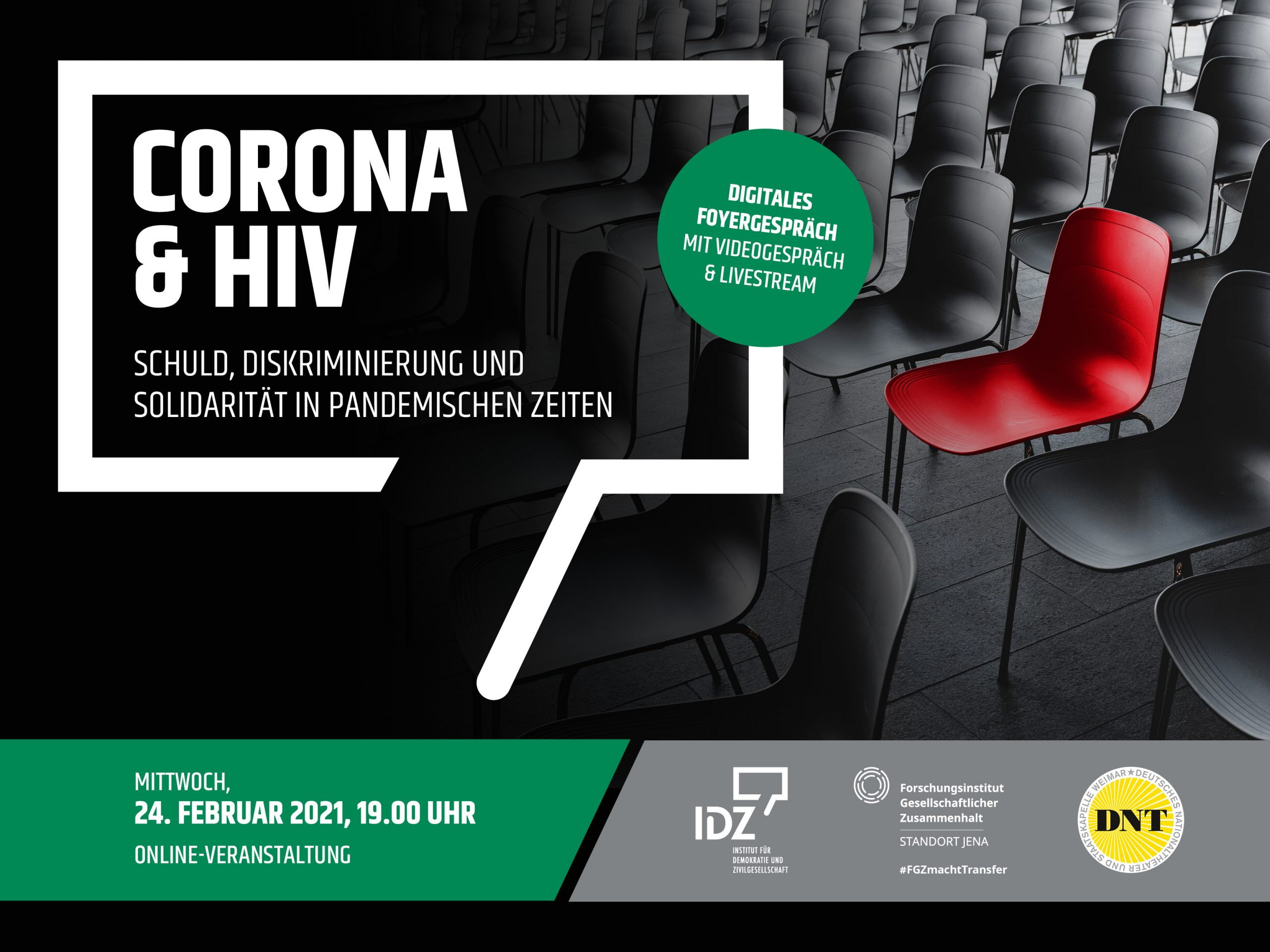 Digitales Foyergespräch Corona und HIV vom Institut für Demokratie und Zivilgesellschaft in Kooperation mit dem Deutschen Nationaltheater Weimar