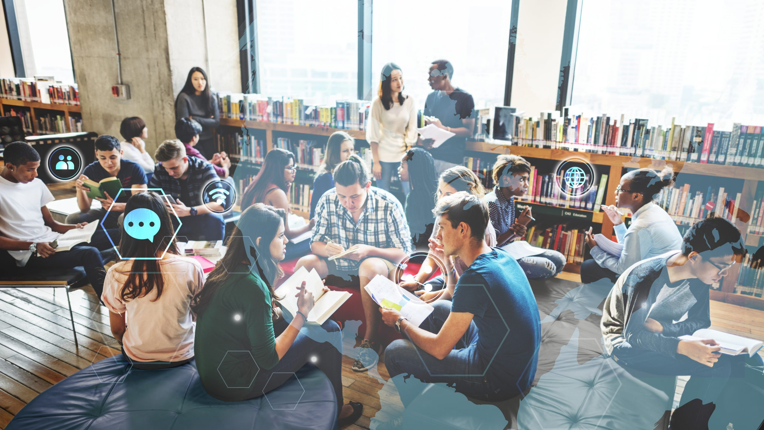 Group of diverse students working in a school library