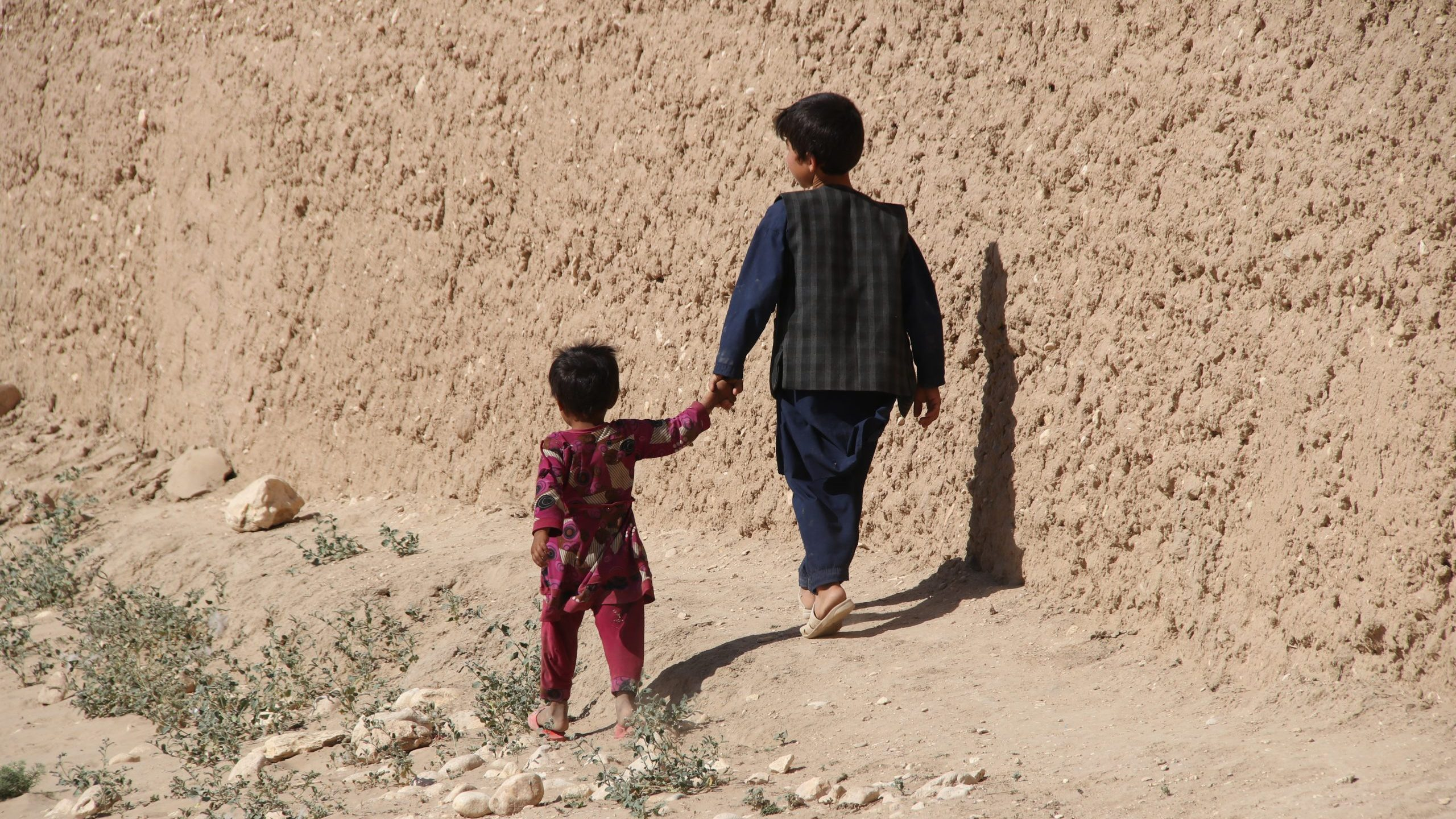 Afghanistan village and school children in the middle of the drought in the North east in the summer of 2019
